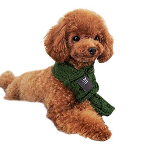 DELEY Huisdier Hond Eenvoudige Kabel Gebreide Sjaal Puppy Winter Warm Neck Warmer Kleding Accessoires, L, Groen
