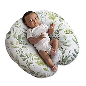 Boppy Newborn Lounger—Original | Lightweight Plush Chair with Carrying Handle| Infant Seat for Awake Time| Wipeable and Machine Washable | Green Leaf Decor