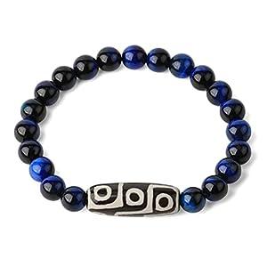 Stein Armband Damen,Tibetischer Buddhismus Natürliche Blaue Tigerauge Edelsteinperlen Dzi Achat Armband Neunäugiges Gebet Religion Armreif Zierliches Geschenk Für Männer Frauen