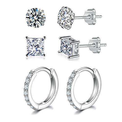Silver Stud Earrings for Women | Silver Hoop Earrings,925 Sterling Silver Stud & Hoop Earrings with AAA+ Cubic Zirconia,3 Pairs Small Cartilage Sleepers Earrings Unisex Jewellery Set(4mm*2 & 12mm*1)