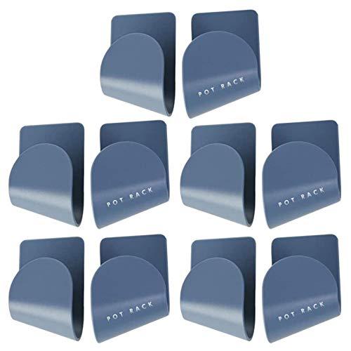 Boyigog 10 Pcs Rejilla Autoadhesiva para Tapa de Olla, Rejilla para Tapa de Olla Almacenamiento de Cocina Montado en La Pared de Tamaño Universal(Azul)