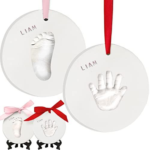 Baby Handprint Footprint Ornament Keepsake Kit - Personalized Baby Prints Ornaments for Newborn - Baby Nursery Memory Art Kit - Baby Shower Gifts, Christmas Gifts (Glaze Paint)