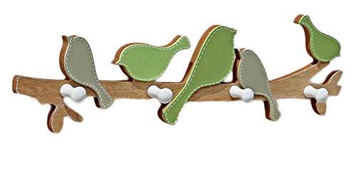 Dosige Holz Vogel Haken Kreative Wand Kleiderbügel mit 4 Haken für Wohnzimmer Badezimmer Schlafzimmer