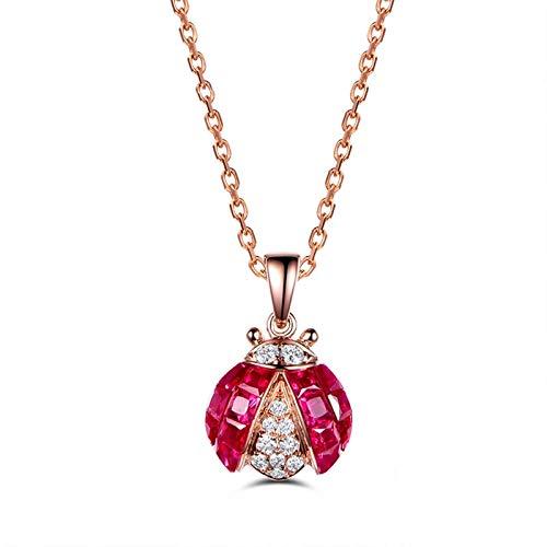 Bishilin Halskette 750 Rotgold Damen Marienkäfer mit Rubin 1.03ct Anhänger Kette Diamant Rosegold für Hochzeit