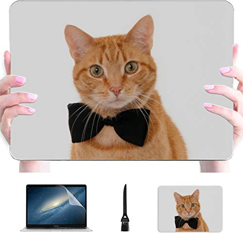 Laptop Pro Accessories Tie Ribbon Cute Funny Cat Plastic Hard Shell Compatible Mac Air 13' Pro 13'/16' Macbook Air Laptop Cover Protective Cover For Macbook 2016-2020 Version