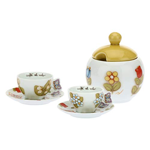THUN ® - Set 2 tazzine caffè e zuccheriera Countryper tè, caffè, tisana - Porcellana - 100 ml - Ø 7,5 cm - h 4,5 cm