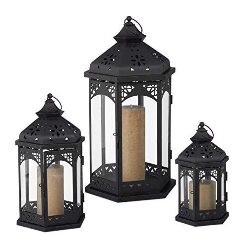 Relaxdays 3er Laternen Set, Deko Laternen für draußen & drinnen, 3 Größen, vintage, Retro Windlicht für Kerzen, schwarz