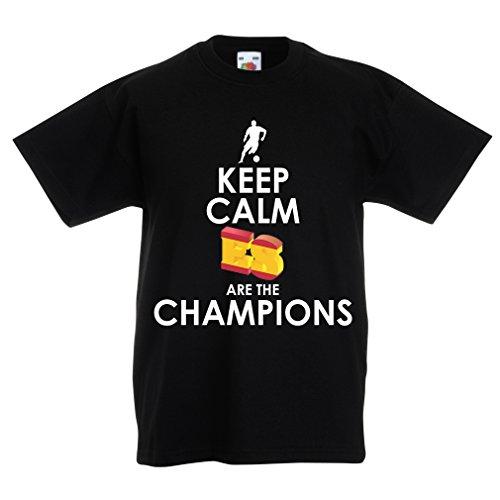 lepni.me Camiseta Niños/Niñas Españoles Son los campeones, Campeonato de Rusia 2018, Copa del Mundo - Equipo del fútbol de Camisa del admirador de España (14-15 Years Negro Multicolor)