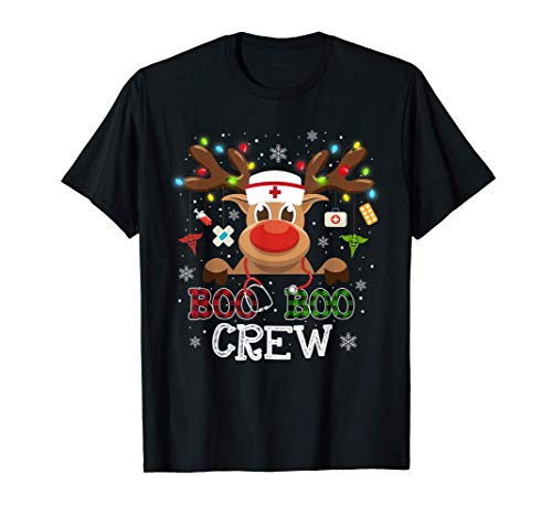 Christmas Boo Boo Crew Reindeer Nurse Buffalo Plaid Nurse T-Shirt