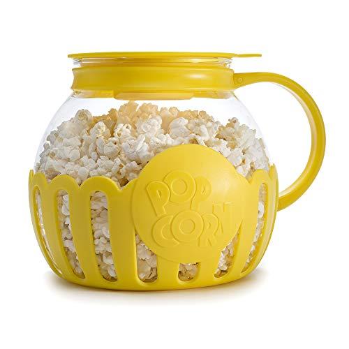 Ecolution Popcorn Popcorn Pop original para micro-ondas, vidro borossilicato, tampa 3 em 1, lavável na lava-louças, livre de BPA, tamanho familiar 3 litros, amarelo