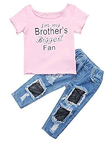 Babymeisje compleet t-shirt en jeansbroek - gescheurd - legging - pak - net - origineel cadeau-idee - roze - meisjes