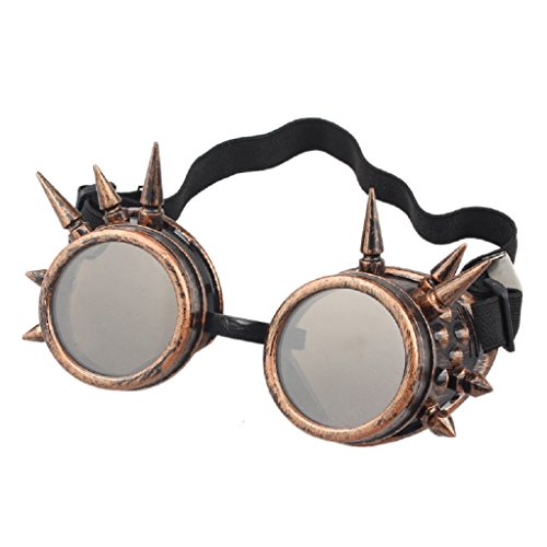 LUCKYCAT Schutzbrille Schweißen Sonnenbrille Welding Cyber LED Goggles Steampunk Goth Round Cosplay Brille Party Fancy Dress