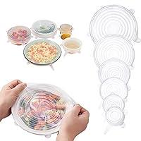 GBSTORE 6パック 異なるサイズ シリコンストレッチ蓋 再利用可能 丈夫な食品ストレージカバー シール缶カバー 多くのコンテナサイズと形状にフィット 食品を新鮮に保つ