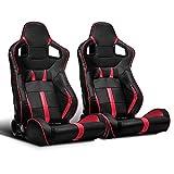 ModifyStreet 1 Pair Universal Black/RED Strip PVC Leather Racing Bucket Seats