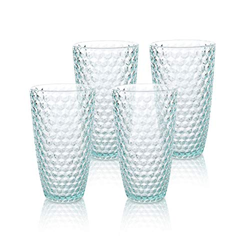 BELLAFORTE - Shatterproof Tritan Tall Tumbler Teal - 19oz, set of 4, Laguna Beach Drinking Glasses - Dishwasher Safe Plastic Tumblers - Unbreakable Glassware for indoor and Outdoor Use, BPA Free