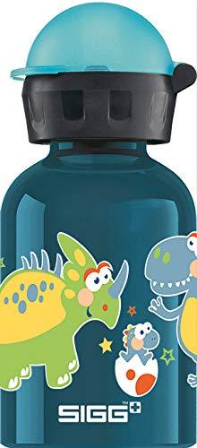 SIGG Small Dino Kinder Trinkflasche (0.3 L), schadstofffreie Kinderflasche mit auslaufsicherem Deckel, federleichte Trinkflasche aus Aluminium