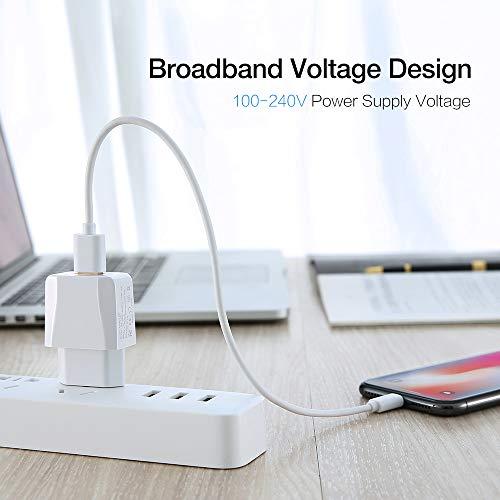 Luvfun USB Ladegert, 2-Port (5V/2.1A) Desktop Ladestation Dockingstation Ladegert Charge Reiseadapter mit iSmart Technologie Weiß [2-Pack]