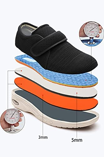 Yibobay Diabetic Shoes for Women Width X-Wide Velcro Shoe for Elderly Women Wide Shoes for Women Walking Shoes Adjustable Closure Breathable Lightweight Non Slip for Swollen Feet Edema
