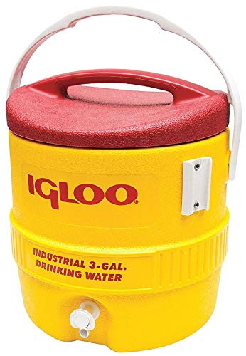 Igloo Water Cooler 3 Gallon Yellow / Red Drip Resistant Push Button Spigot /Reinforced Swing-Up Carry Handle 431