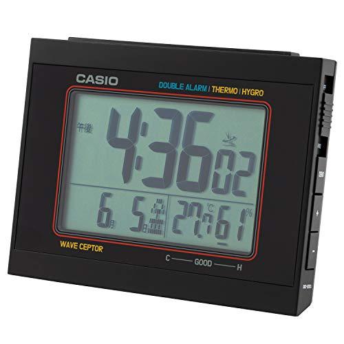 CASIO(カシオ) 目覚まし時計 電波 デジタル ダブルアラーム 温度 湿度 カレンダー 表示 ブラック DQD-5000J-1JF