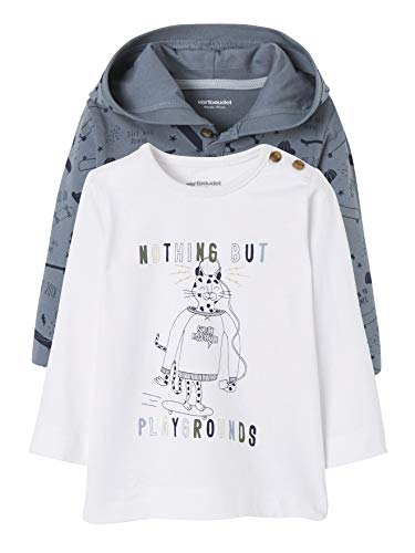 Vertbaudet Lot de 2 T-Shirts bébé garçon Motif Animal Sauvage Bleu+Blanc 3M - 60CM