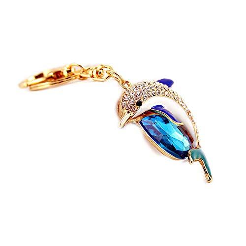 Crystal Rhinestone bolsa encantos bolso llaveros delfín