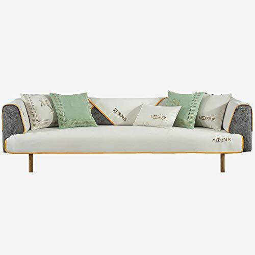 YUTJK Cojines de sofá de Diez Colores, Funda Chaise Longue Lavable Protector para Sofás, Toalla De Sofá Cuatro Estaciones, Antideslizante Funda De Sofá, para otoño, Blanco