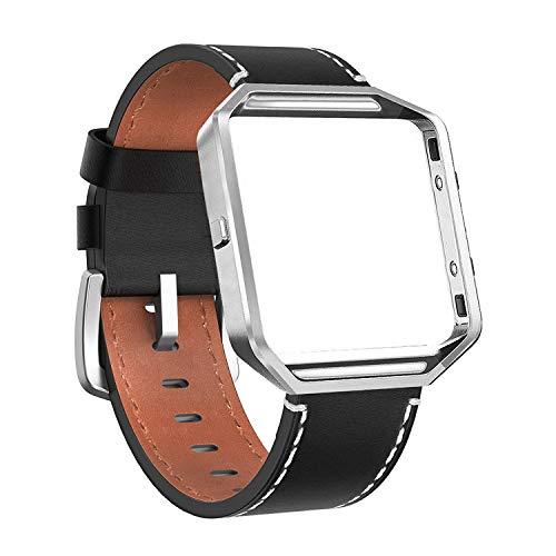 Cynmir Lederen Band Compatibel met Fitbit Blaze Smart Watch, Echt Lederen Vervangende Band met Metalen Frame Klein & Groot voor Vrouwen Mannen, Champagne Goud, Roségoud, Grijs, Beige, Roze