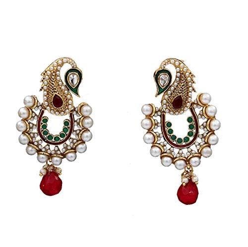 55Carat Pendientes únicos y hermosos pendientes colgantes y gota de circonita cúbica adornados con chapado en oro Jhumka Jhumki para mujeres y niñas