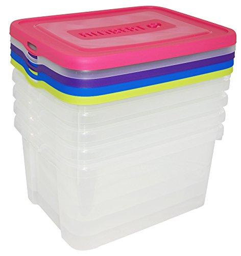 CURVER   Lot de 5 Boîtes de rangement Handy box 25L, Bleu / Rose/ Violet/ Jaune / Vert, 44,8 x 34,5 x 45 cm, Plastique