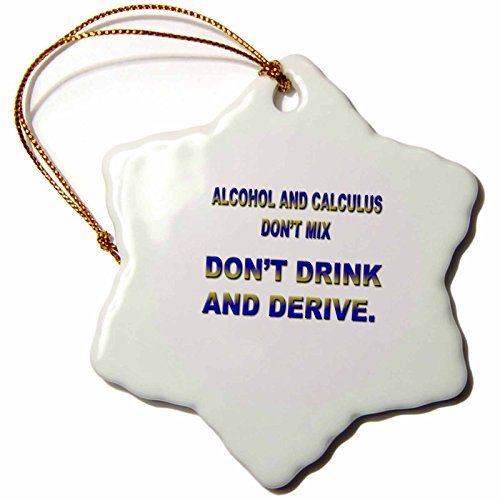 3dRose Alcohol and Calculus Dont Mix Don't Drink and Drive Ornament, 3-Inch
