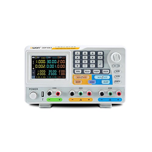 OWON ODP3063 Programmable DC Power Supply 3-ch output, 30V / 6A, max output power 378W, 480x320 pixels TFT color LCD