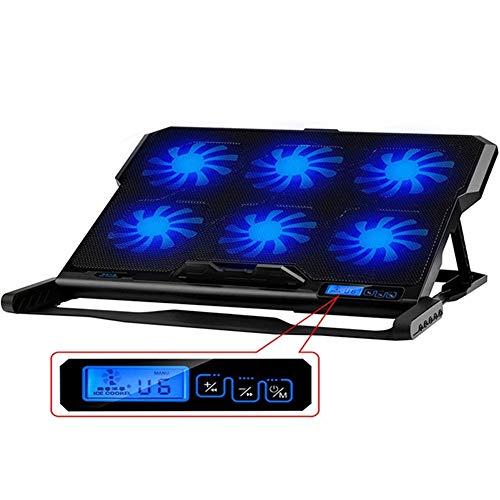 Laptop und Notebook Cooling Pad, ZXIANGK Laptop Ständer 2 Port USB Hub 5 Ziemlich Lüfter Starker Wind Mit Geschwindigkeit regelbarer Lüfter und LCD-Display