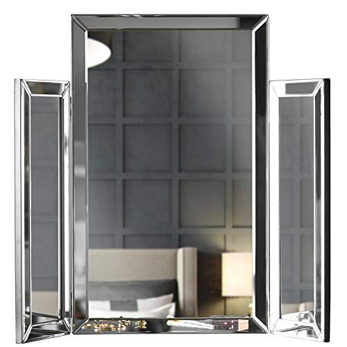 Paloma - Tri-Fold make-upspiegel Afgeschuind glasontwerp Gevouwen tafelblad Perfect voor make-up kaptafel Slaapkamer in zilver