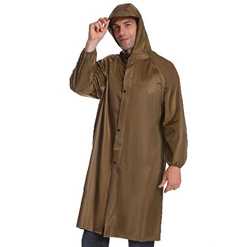 CUIJU Rain Poncho High Visibility Long Reflective Waterproof Raincoat with Hood for Men Adult Outside Working,Brown,2XL