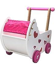 TikTakToo Doll's Pram Doll's Möbler Walker Barnvagn Rosa/Vit