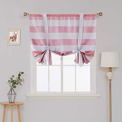 Deconovo Striped Room Darkening Curtains Rod Pocket Kids Tie Up Drapes for Kitchen 46W X 54L Baby Pink 1 Panel