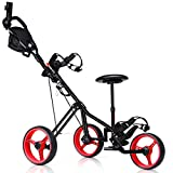 Tangkula Golf PushCart Swivel Foldable 3 Wheel Push Pull Cart Golf Trolley with Seat Scoreboard Bag Golf Push Cart (Red)