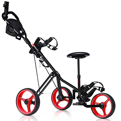Tangkula Golf Push Cart, Foldable 3 Wheels Push Pull Cart, Lockable Golf Trolley with Seat Scoreboard Bag,Golf Push Cart (Red)