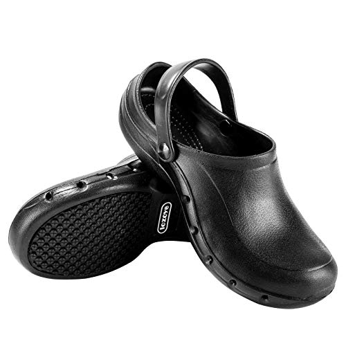lozoye Work Clogs Chef Shoes for Men and Women, Breathable Work Shoes Nurse Shoes Slip Resistant (Black) (Numeric_6_Point_5)