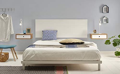 HOGAR24 ES- Cabecero Madera Lacado Blanco + 2 mesitas flotantes con cajón. Medidas cabecero: 155 x 60 x 2 cm.