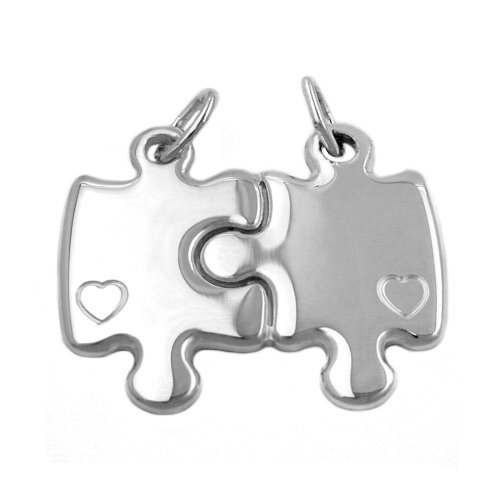 Colgantes de la amistad con forma de puzzle doble de plata de ley 925.