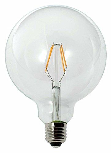 New-Lamps Lampadina a LED in vetro, a globo, G125, con attacco E27, disponibile da 2, 3,5, 6, 7 e 8 W, 240 V CA, luce calda da 2.700 K, diametro 125 mm, classe energetica A+ bianco caldo