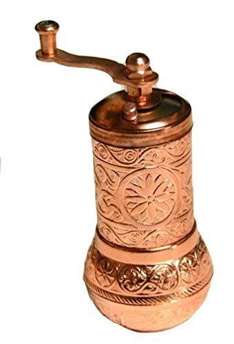 Handgefertigt Türkisch Messing Pfeffermühle Spice Grinder Salzmühle Set–ISO 9001zertifiziert–10,2cm glänzend kupfer