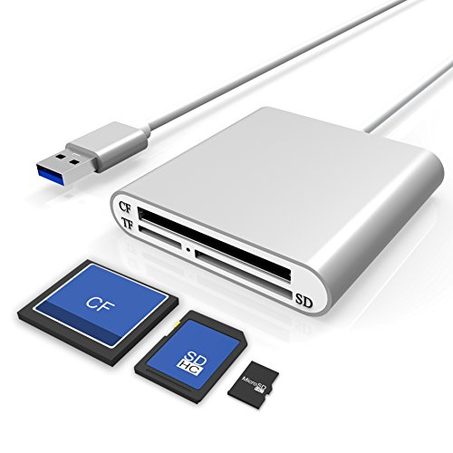 Cateck Lector de Tarjetas SD de Aluminio Ultra-rápido USB 3.0 Lector Multitarjetas para CF/SD/TF Tarjetas Micro SD y más para iMac, MacBook Air, Macbook Pro, MacBook, Mac Mini, PCs y Portátiles
