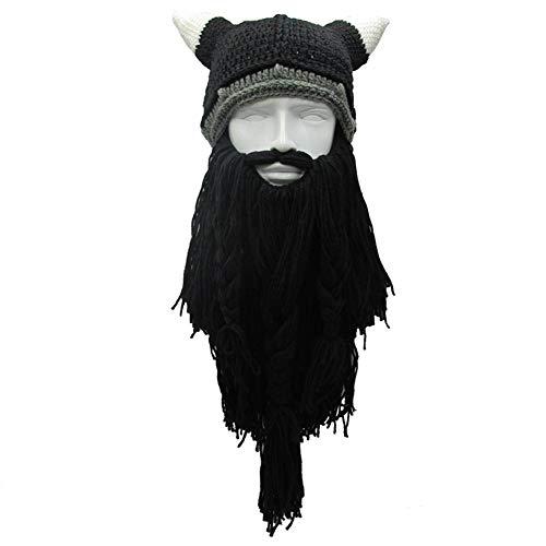 Yvnnelee Mujer Gorro Peluca Barba Hombre Divertido Gorro con Pelo para esquí Correr Carnaval Halloween Cosplay Party