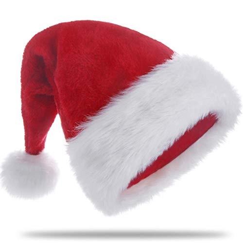 KFZR Weihnachtsmütze für Erwachsene Big Verdickte Weihnachtsmütze Plüschkrempe Roter Samtstoff Unisex Weihnachten