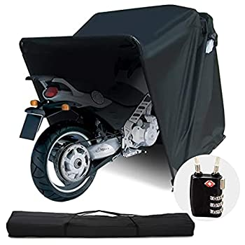 Quictent Heavy Duty Motorcycle Shelter Shed Cover Storage Garage Tent with TSA Code Lock & Carry Bag Small Size