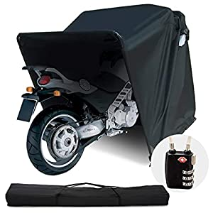 Quictent Heavy Duty Motorcycle Shelter Shed Cover Storage Garage Tent with TSA Code Lock & Carry Bag, Small Size