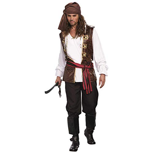 Men's Adult Pirate Costume-Adults Halloween Christmas Party Cosplay Scottish Highland Long Sleeve Shirt with Vest Headband and Belt (S)